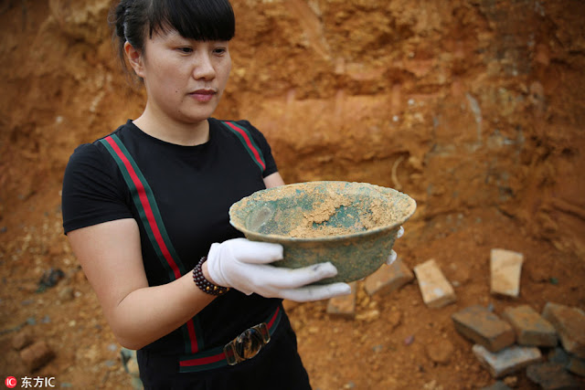Six bronze vessels unearthed in Jiangxi