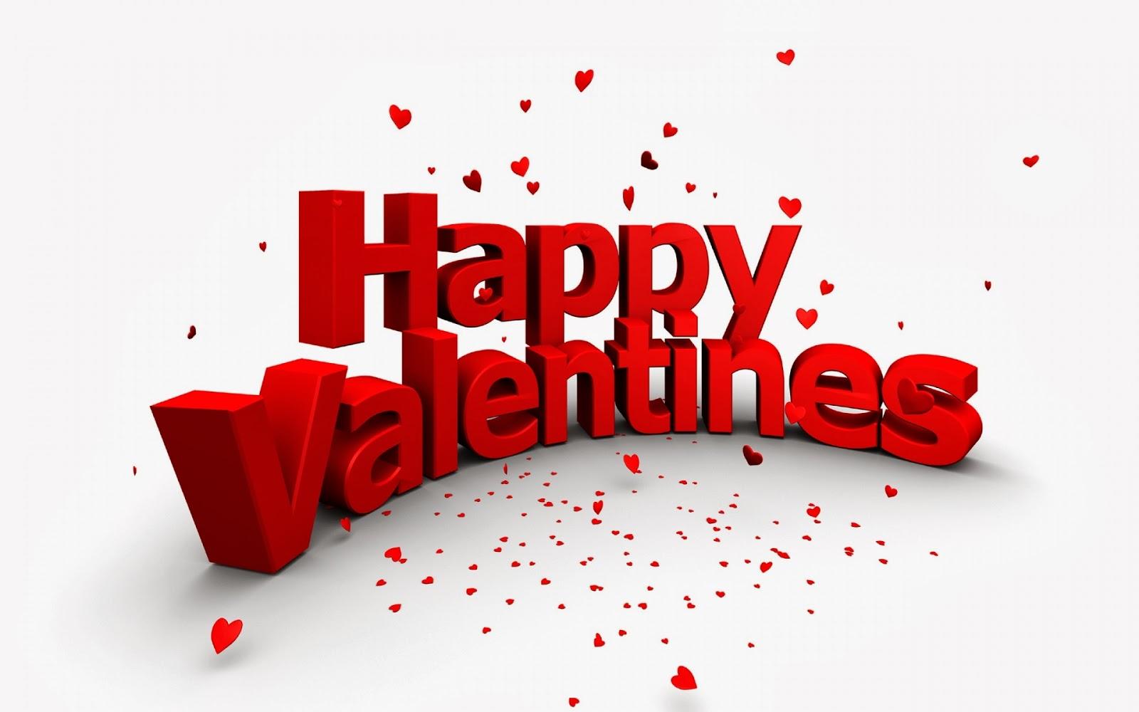 Happy Valentines Red 3d Text White BG HD
