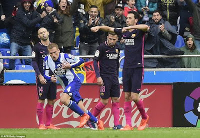 La Liga: Deportivo bring Barcelona back to earth after 2-1 defeat