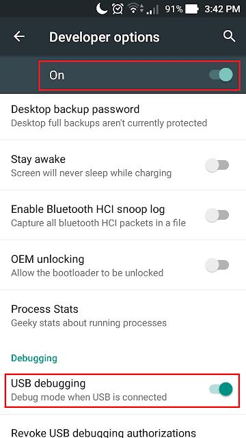 mode usb debugging sudah aktif.