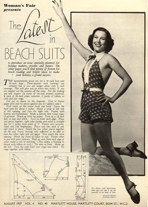 5c28ff96f1 For those of you who like to sew, now you can recreate your own swimsuit,  play suit or beach suit with these patterns! These images are from 1937, ...