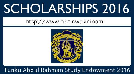 Biasiswa Tunku Abdul Rahman Study Endowment (BPTAR) 2016