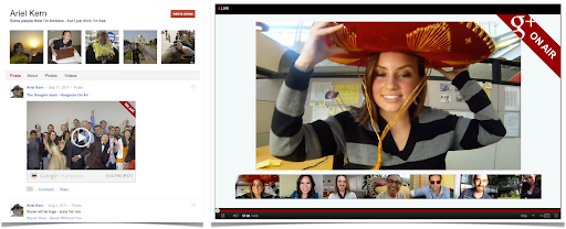 Hangouts On Air: Stream View (left), Full-screen Mode (right)