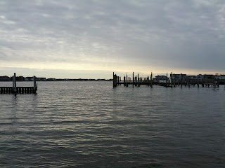 An overcast sky looms above the waters of Barnegat Bay
