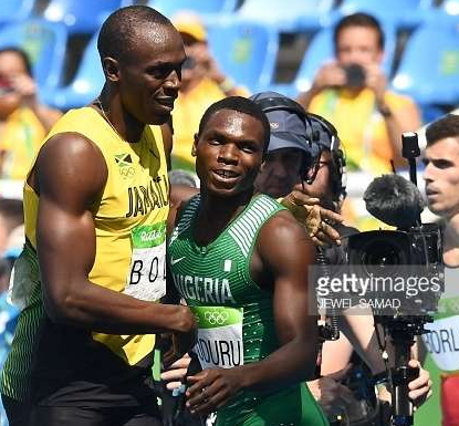 nigerian athlete races finish line usain bolt