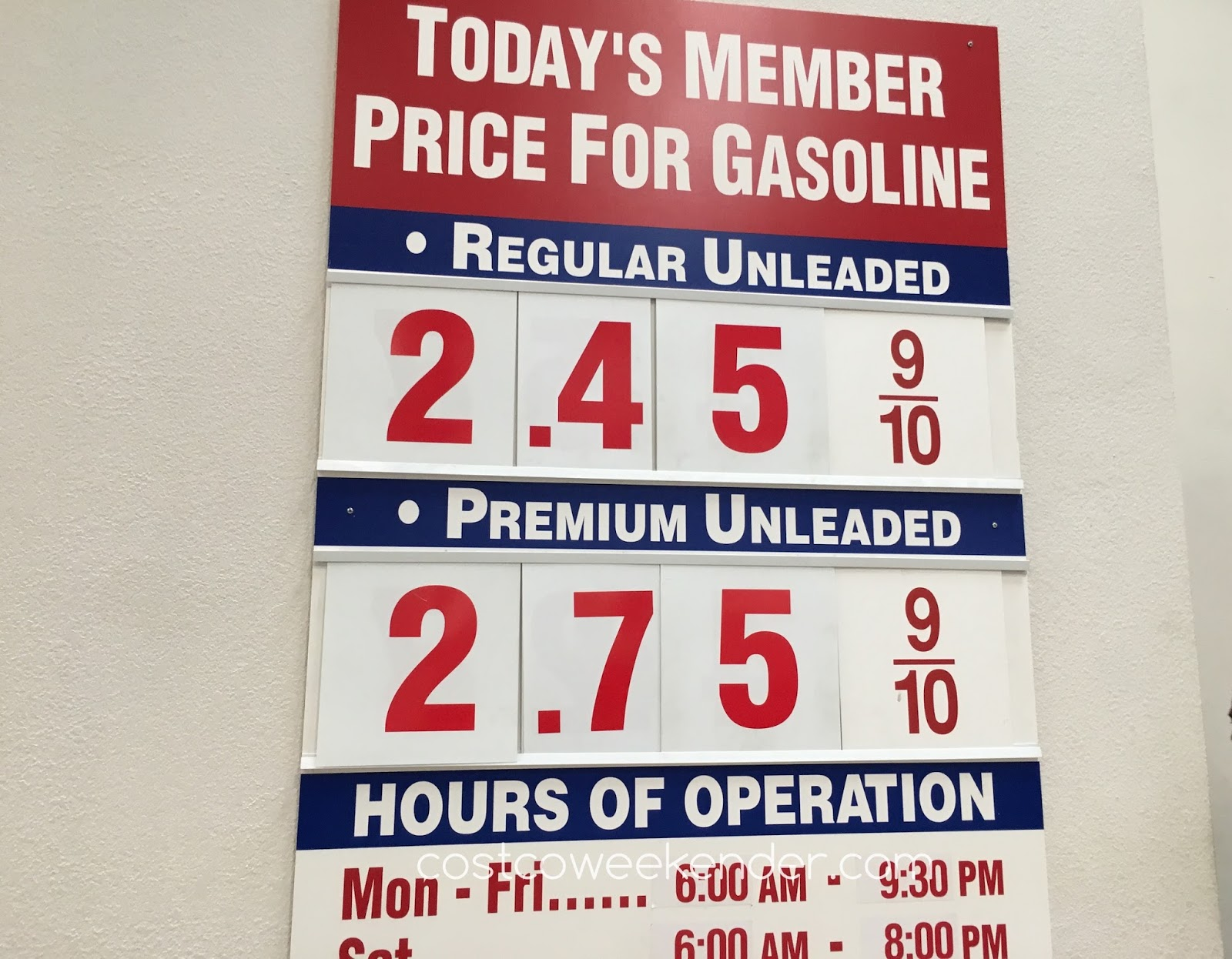 Costco gas for Oct 19, 2016 at Sunnyvale, CA