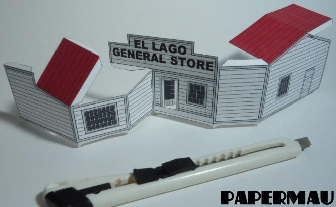 Papermau el lago general store paper model in 1 64 scale for Lago store