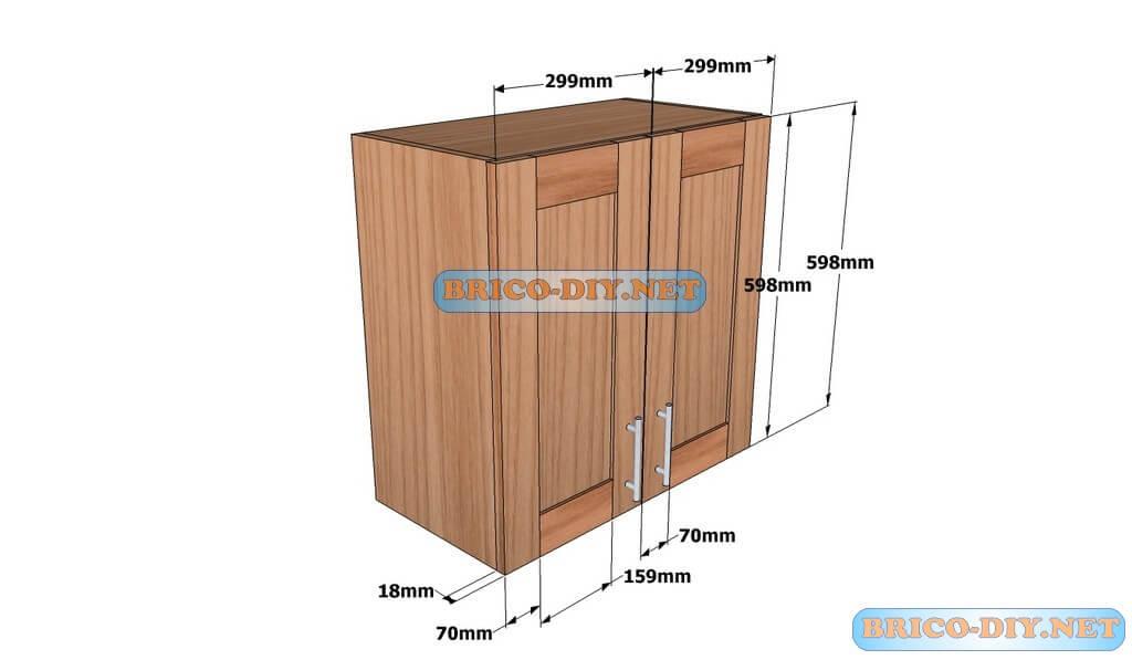 Mueble de cocina plano alacena de madera cedro 60 cm de for Muebles de oficina y sus medidas