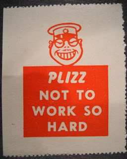 "A poster showing a racist caricature of a Japanese man with the text ""Plizz not to work so hard."""