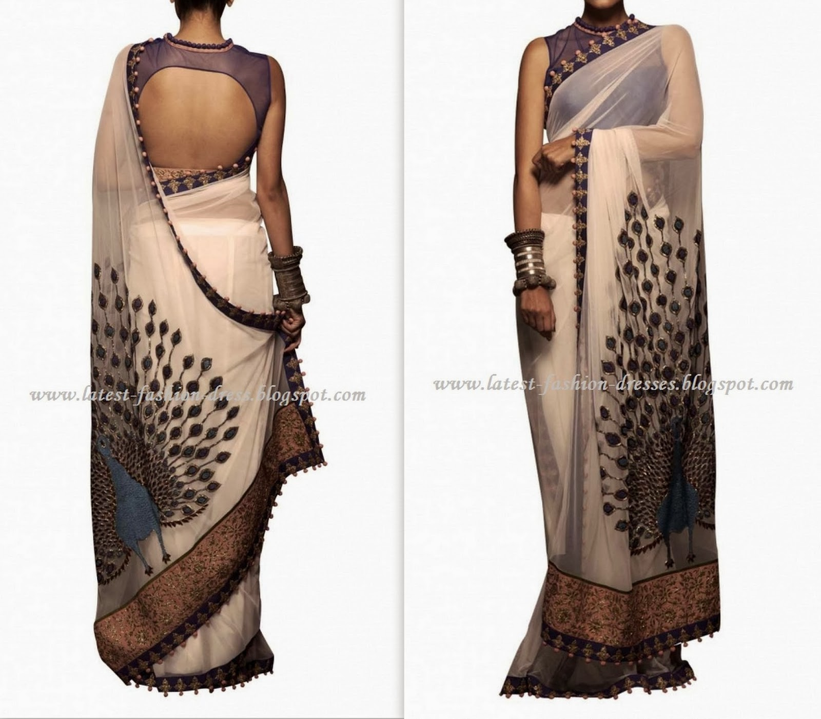 ink blue colour peacock style saree