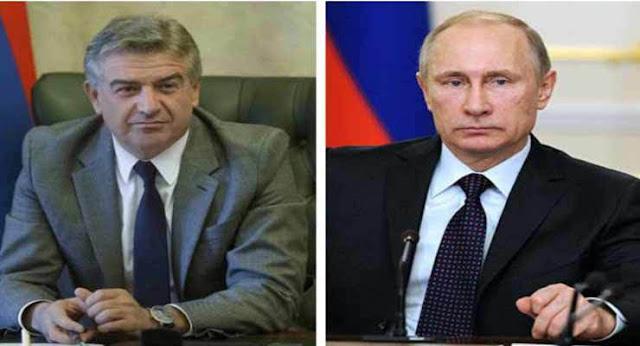 Karen Karapetyan y Vladimir Putin tuvieron una conversación telefónica