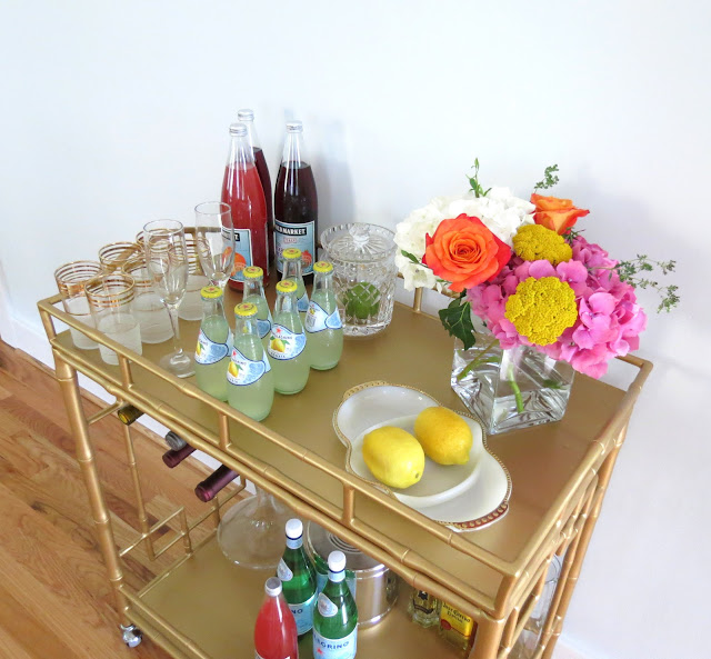 how to decorate bar cart tea cart entertaining