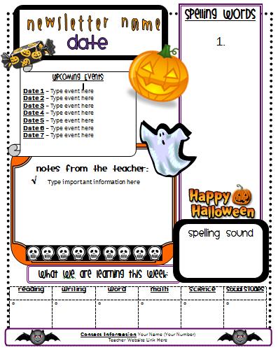 halloween+news Teacher Pay Free Newsletter Template For Halloween on