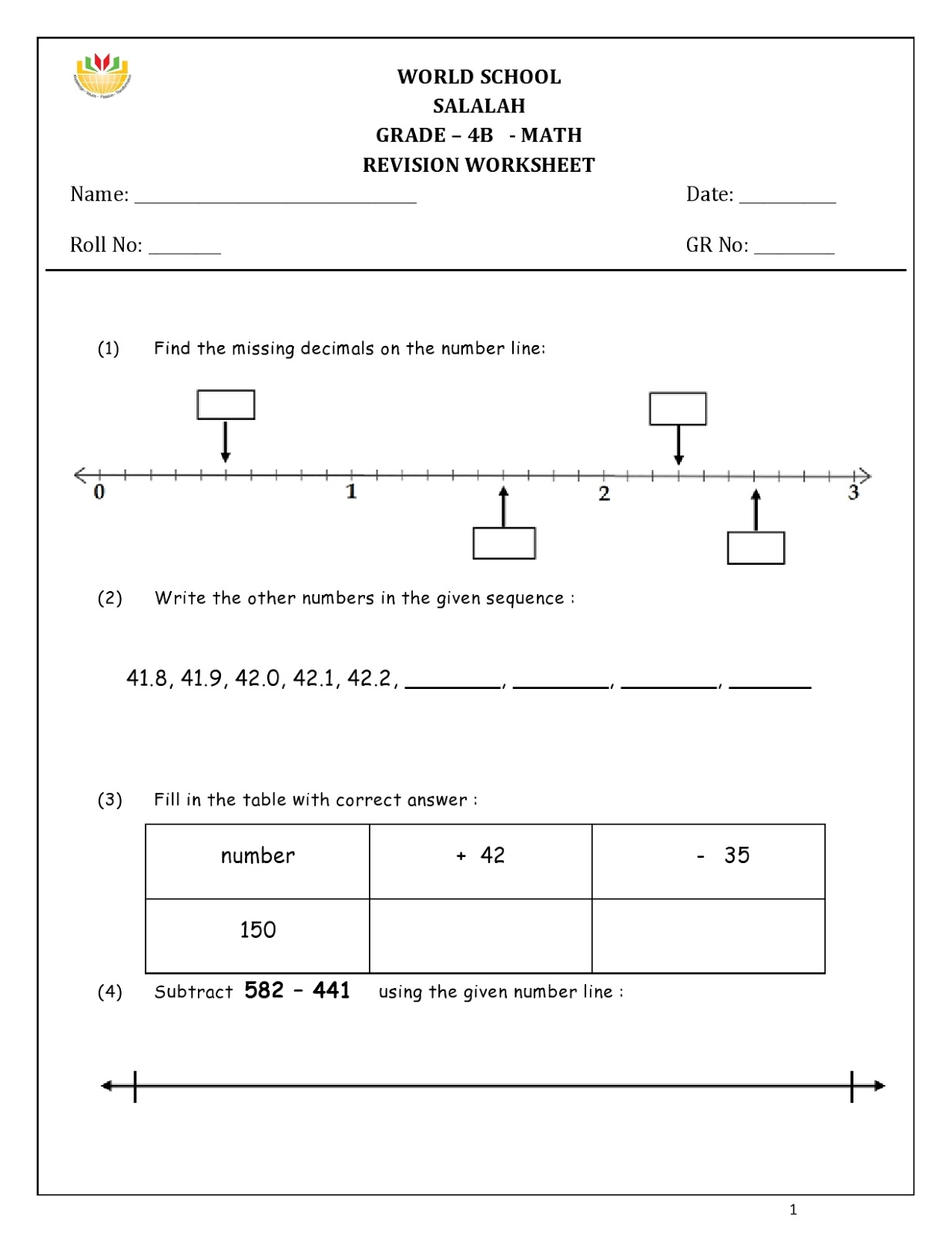 Birla World School Oman Homework For Grade 4 As On 07 12