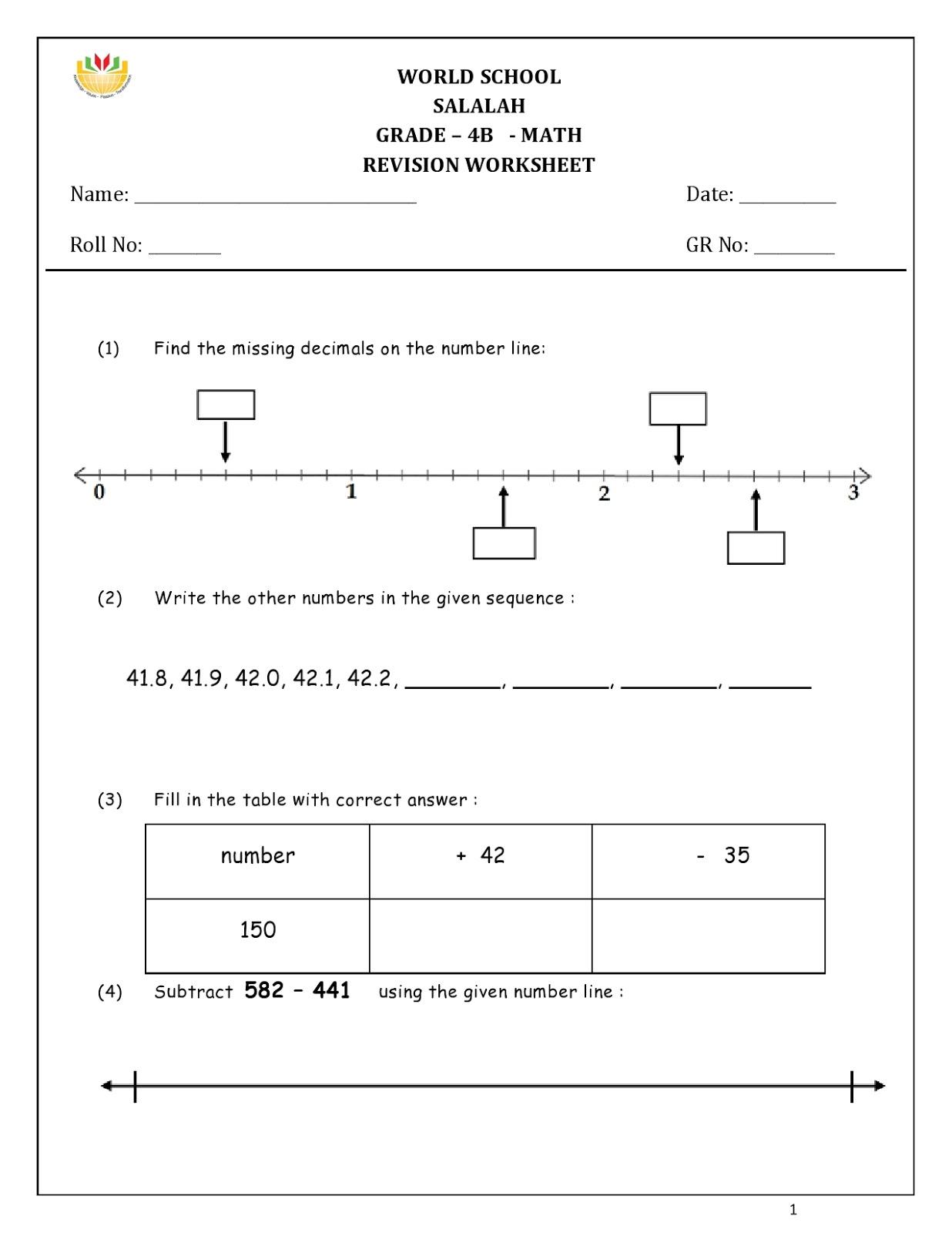 Birla World School Oman Homework For Grade 4 As On 07 12