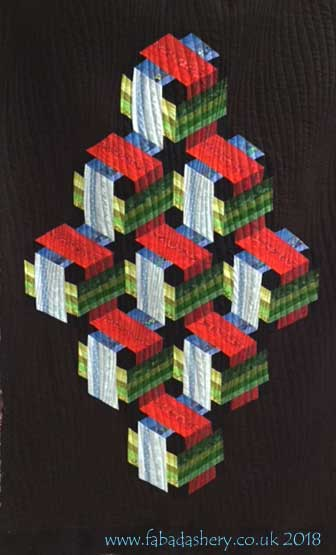 '3-D Boxes' optical illusion quilt, Jan Hassard Workshop, made by Dorothy