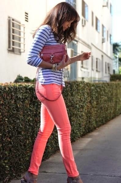 cute Pink jeans & striped blouse - sexy