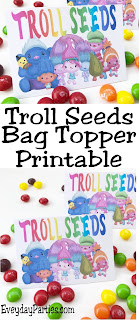 These Troll Seeds bag toppers are the perfect give for our Trolls birthday party! They are quick and easy to put together and so stinkin' cute. Print them out for free now and bring a smile with Princess Poppy and the Trolls squad.