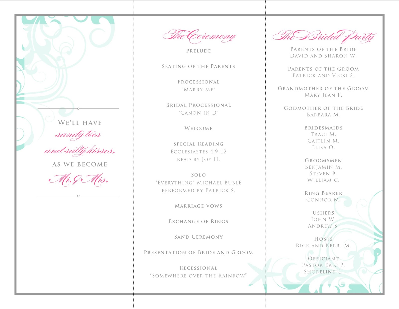 sample program templates ideas wedding template sports