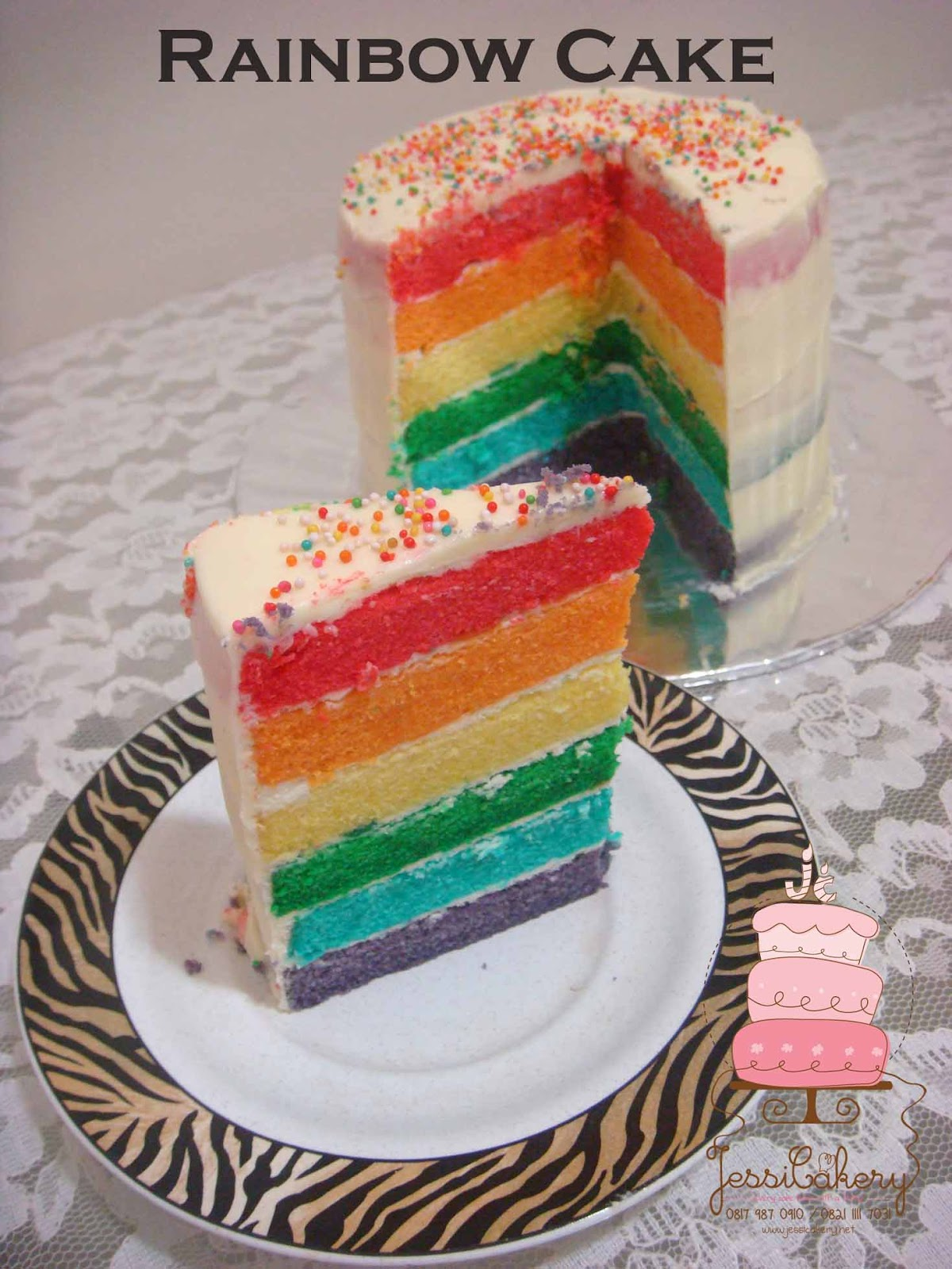 Jessicakery Rainbow Cake With Cream Cheese Frosting