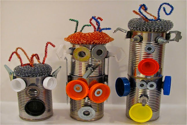 Recycle craft for kids robotic tin can creative art for Creative recycling ideas for kids