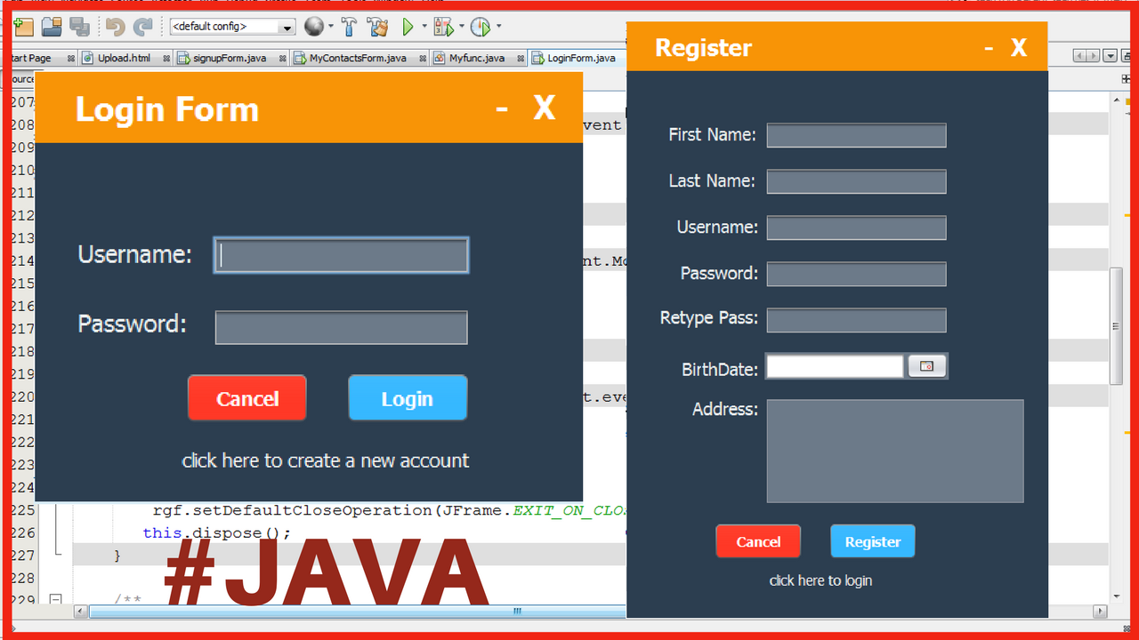 how to create login form in java using netbeans