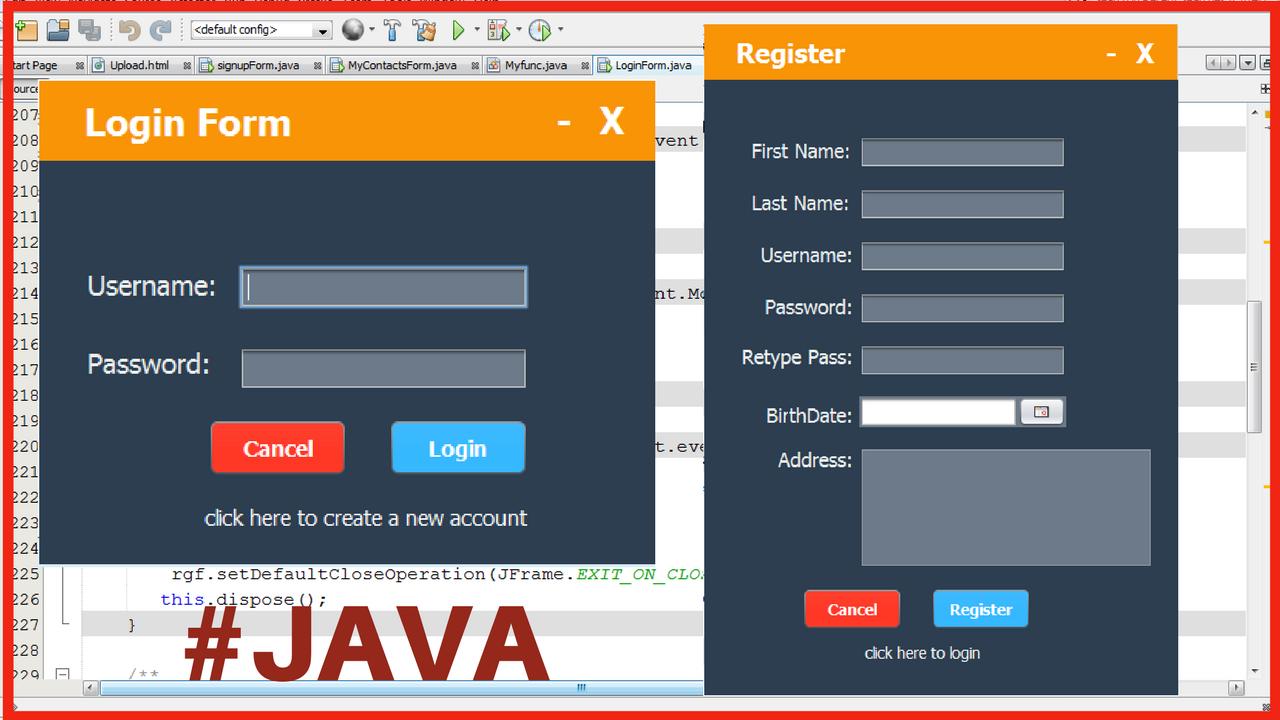 Java - Login And Register Form Design - C#, JAVA,PHP ...