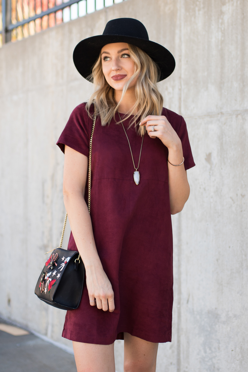Burgundy faux suede dress
