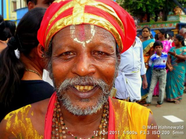 street portrait, Dravidian people, South India, Madurai, Chithirai festival, headshot, Hindu man, Vishnu sign on forehead
