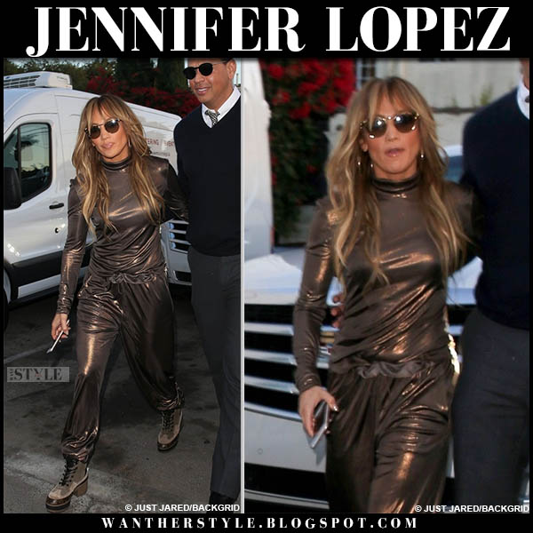 Jennifer Lopez in bronze metallic top and pants sally lapointe street style october 12