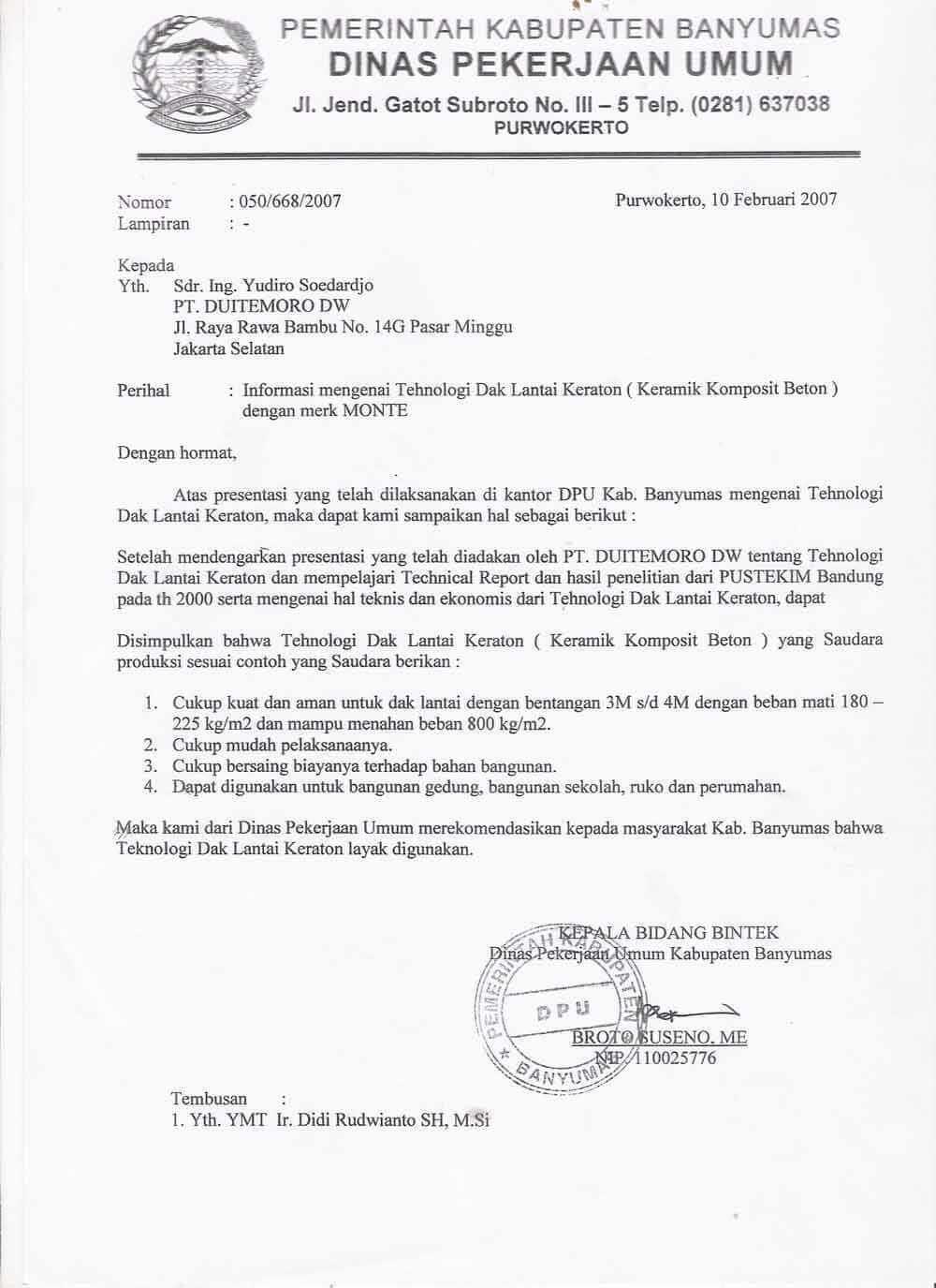 Contoh Surat Dinas Pemerintahan