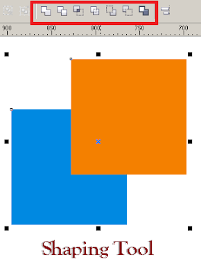 Fungsi Weld, Trim, Intersect, Simplify, Front dan Back Minus Front pada CorelDRAW, cara menggunakan shaping tool, pengertian dan jelaskan fungsi shaping tool