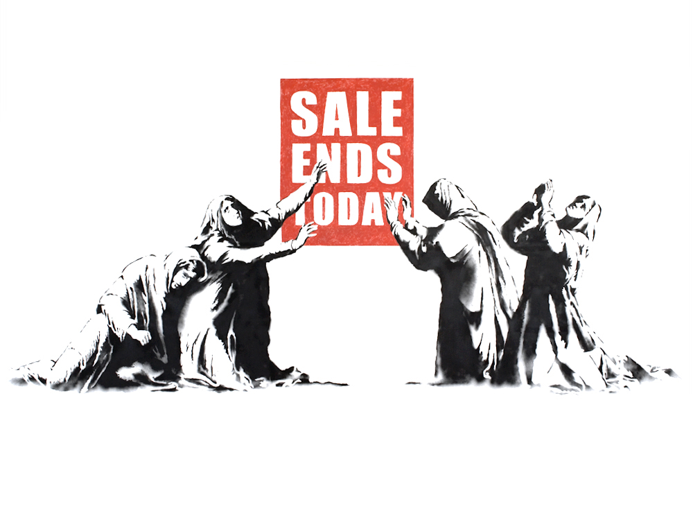 Banksy's Sale Ends Now image from the LA show in 2006