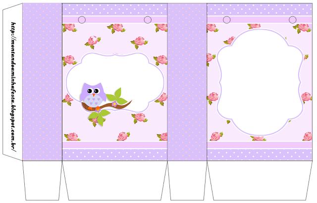 Caja para Imprimir Gratis de Búho Lila en Shabby Chic.