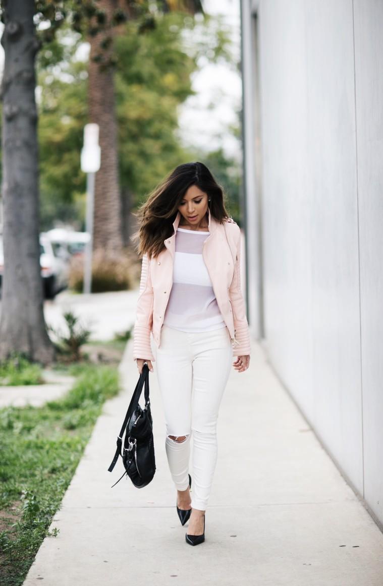 House of CB x Marianna Hewitt - Pink Biker Jacket + White Jeans