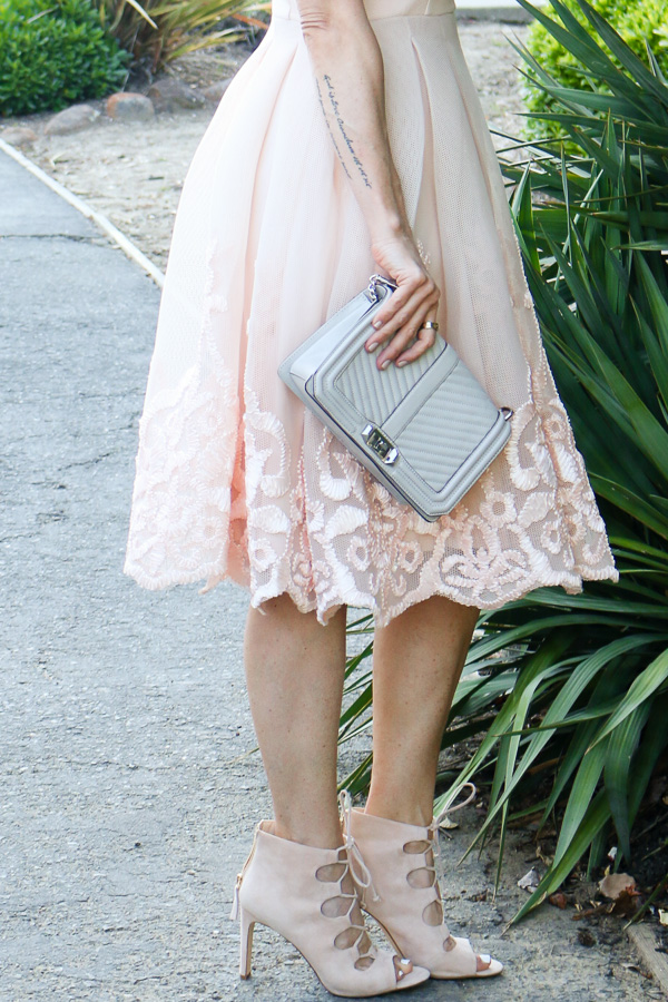 blush embroidered full mesh midi dress