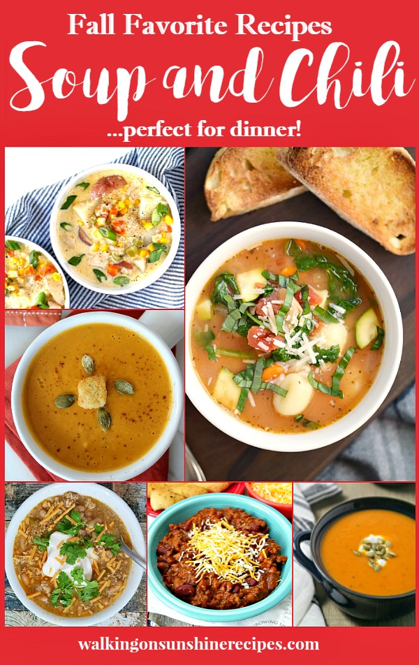 Soup and Chili Recipes | Walking on Sunshine Recipes #soup #chili #recipe