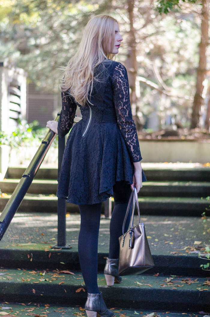 H&M Black Lace Dress, Date Night Outfit