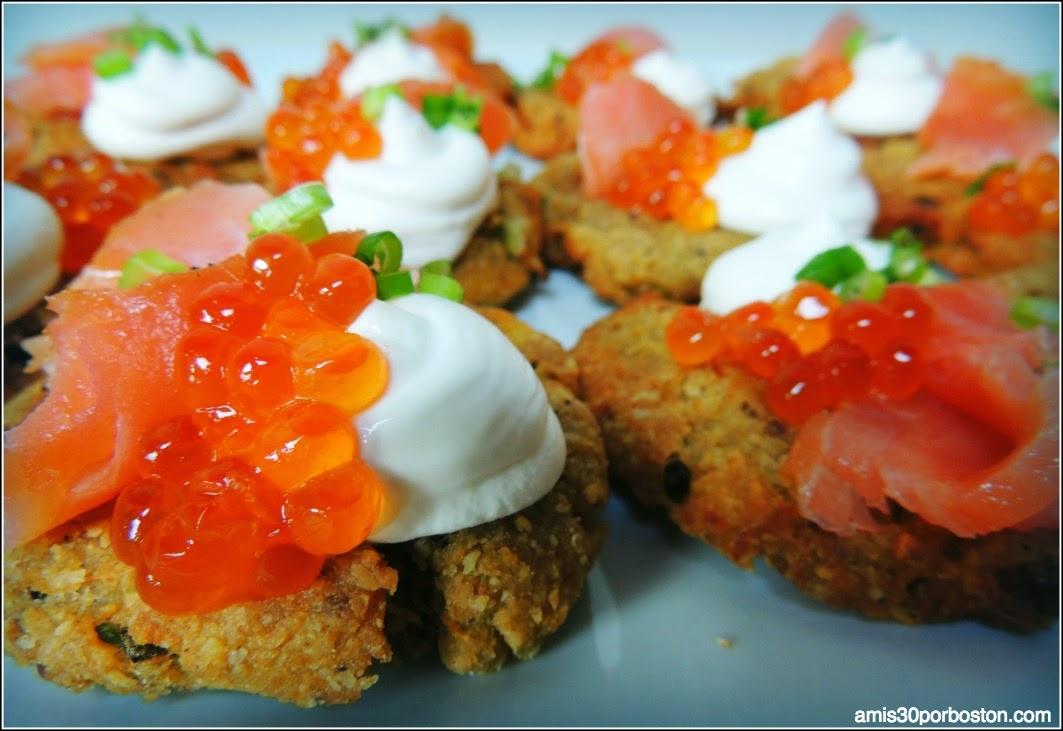 Latkes de Patata con Salmón Ahumado y Sour Cream