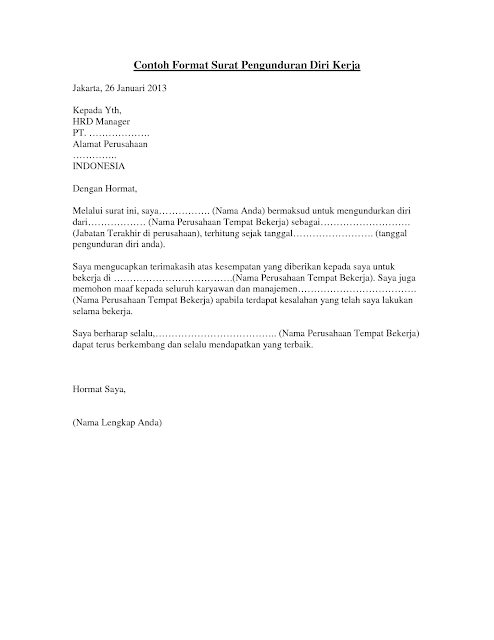Format Surat Pengunduran Diri Perusahaan Altin Northeastfitness Co