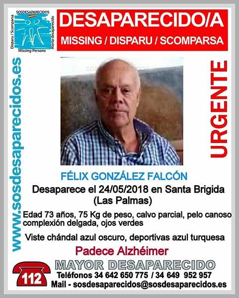 Félix González Falcón, hombre con alzheimer desaparecido en Santa Brígida