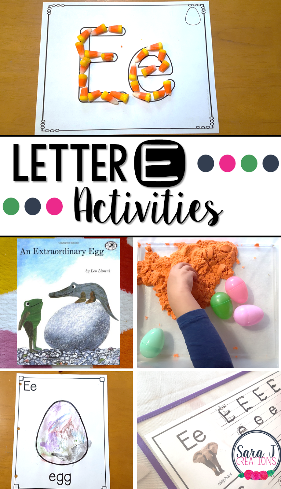 Letter E Activities that would be perfect for preschool or kindergarten. Sensory, art, gross motor, literacy and alphabet practice all rolled into Letter E fun.
