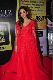 Actress Model Parul Yadav Stills in Red Long Dress at South Scope Lifestyle Awards 2016 Red Carpet  0084.JPG