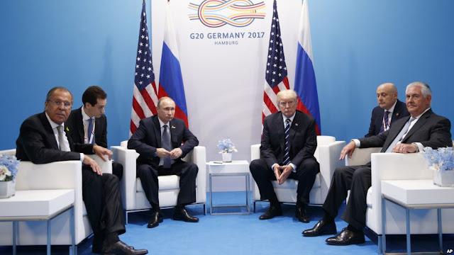 Vladimir Putin y Donald Trump reunidos por primera vez  en el marco del encuentro del G-20 en Hamburgo