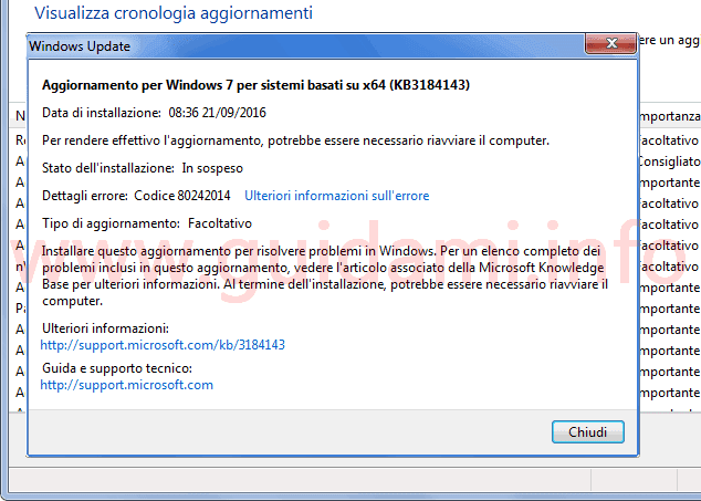Agiornamento KB3184143 in Windows Update