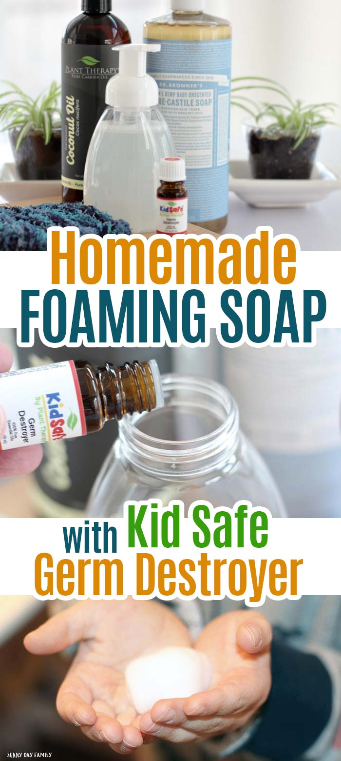 Super easy DIY foaming hand soap for the entire family! Made with kid safe germ destroyer essential oils for clean hands all year long. Safe and natural for the entire family! #essentialoils #soaprecipes #homemade #essentialoilrecipes