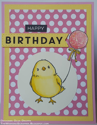 Yellow and pink birthday card using chic image from SU Honeycomb Happiness and MFT birthday sentiments