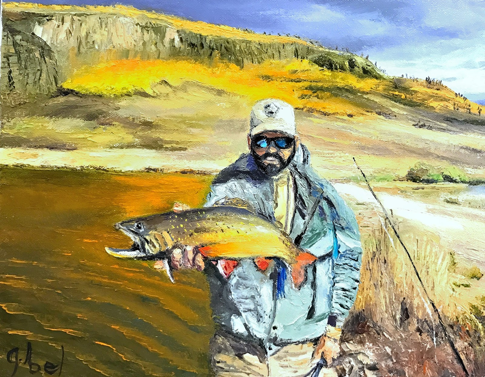 Palette knife painters commissioned painting fly fishing for Trout fishing southern california