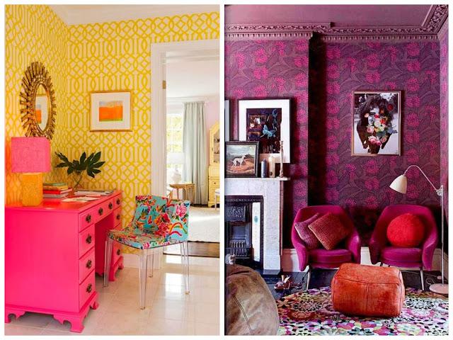 O estilo de decoração Frida Kahlo é bem alegre e extravagante com cores vibrantes, elementos artesanais, flores, tecidos jacquard, desenhos geométricos, listras, zig-zags e referências religiosas.