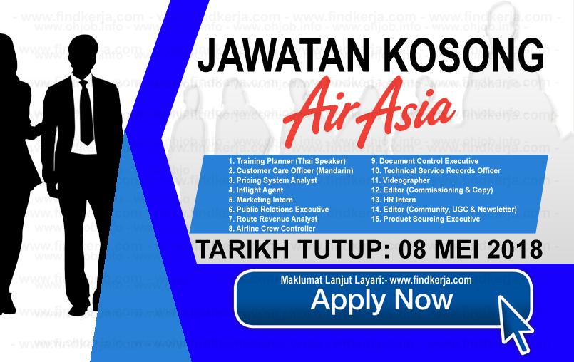 Jawatan Kerja Kosong AirAsia Berhad logo www.findkerja.com mei 2018